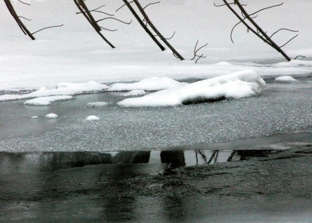 creek with snow and ice